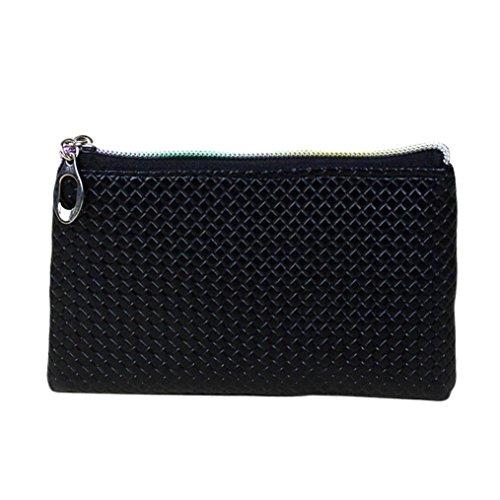 Winhurn Women Fashion PU Leather Long Zipper Plaid Wallet Mini Handbag (Black)