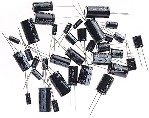 Electrolytic Capacitors Set,16V 25V 35V 50V Aluminium Electrolytic Capacitor Assorted Assortment Kit Black,Range 0.1uF~220uF, 23Value, Total 207PCS, By (11 Electrolytic Capacitor)