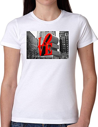 T SHIRT JODE GIRL GGG22 Z0489 LOVE MONUMENT CITY URBAN LIFESTYLE AMERICA FUN FASHION COOL BIANCA - WHITE M