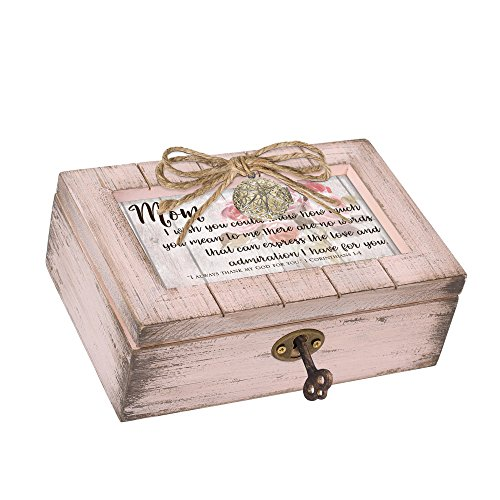 Cottage Garden Mom No Words Express The Love Blush Pink Distressed Locket Petite Music Box Plays How Great Thou Art