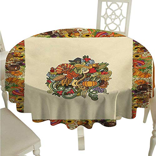 cashewii Thanksgiving Fabric Dust-Proof Table Cover Pumpkin Wreath Bow Cranberry Leaves Ivy Corn Basket Traditional Pattern Fall for Kitchen Dinning Tabletop Decoration D36 ()