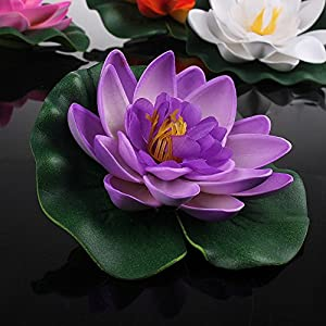 Set Of 4 Different Color Artificial Floating Foam Lotus Flower Water Lily for Home Garden Pond Decor,Small 2