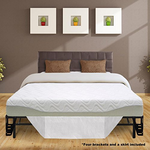 Best Price Mattress 9' Gel-infused Memory Foam Mattress & 14' Premium Metal Bed Frame with Brackets + Bed Skirt Set, Queen