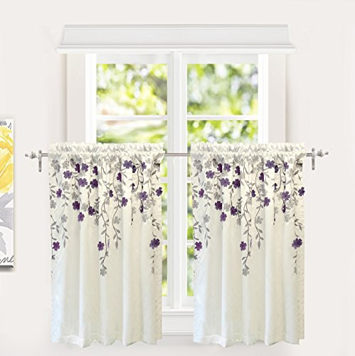 DriftAway Isabella Faux Silk Embroidered Kitchen Tiers Embroidered Crafted Flower 2 Tiers 30 Inch by 36 Inch Plus 1.5 Inch Header Ivory Purple