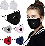 5 Pack Protective Covers with 10 Carbon Filter,Washable Reusable Cotton Blend Protection Cover with breathing