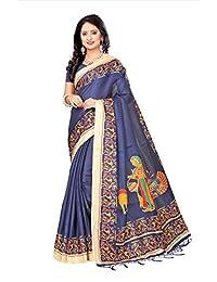 Shonaya Women`S Khadi Silk Printed Saree with Unstitched Blouse Piece