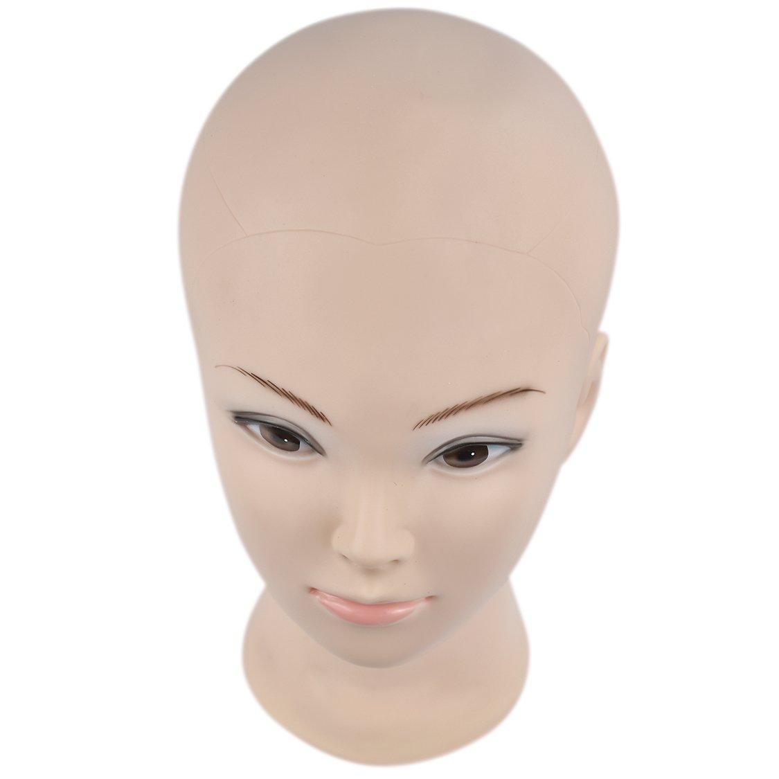 ERSIMAN Maquillaje Cabeza de entrenamiento calva Cosmetología Maniquí Cabeza de maniquí para pelucas Fabricación y exhibición con abrazadera libre: ...