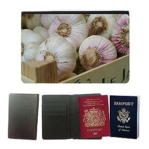 Passeport Voyage Couverture Protector // M00291929 Planta de hierbas medicinales de ajo // Universal passport leather cover