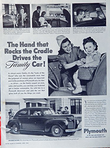 Baby Girl Magazine (1940 Plymouth, 40's Print ad. B&W Illustration (the hand that rocks the cradle drives the family car... little girl in baby set) Authentic original, Vintage 1940 Better Homes and Gardens Magazine Print Art)
