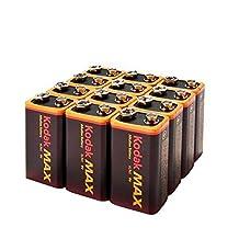 (12-Pack) Kodak MAX 9V Batteries Alkaline 9 Volt 6LR61 Fresh BULK