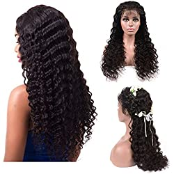 """Perstar 360 Lace Front wigs Deep Wave human hair Lace Frontal Wigs with baby Hair Brazilian Deep Wave Wet and Wavy human hair wigs 150% Density for black Women(16""""-360 wig, 360 front wig)"""