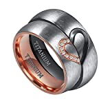 TIGRADE Real Love Heart Titanium Wedding Bands Couple Engagement Rings CZ Inlaid (women's, 8)