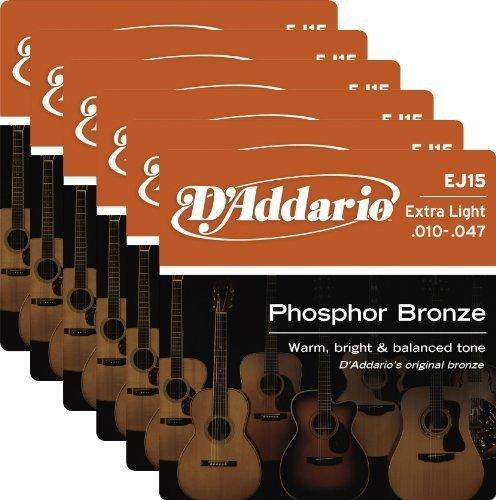 Daddario Ej15 Extra Light - 6 Sets of D'Addario EJ15 Phosphor Bronze Extra-Light Acoustic Strings (10-47)