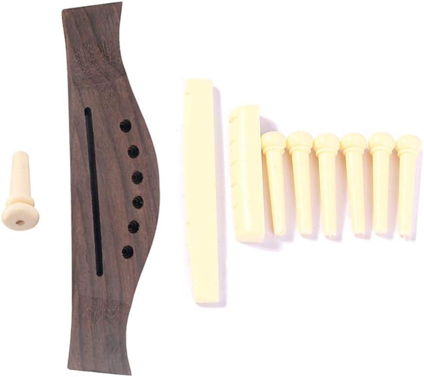 SUPVOX 6 Cuerdas Puente de Guitarra Sill/ín Pines de Puente de Palo de Rosa Puente de Guitarra Piezas de Guitarra para Reemplazo de Guitarra Cl/ásica Popular
