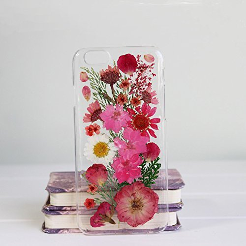 finest selection 54e0e ea870 Rebbygena Dried Floral Case for iPhone 7 Real Pressed Flower iPhone 7 Case  and Cover Crystal Clear Case Soft Sunflower Case for Girls