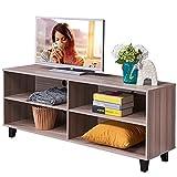 Dland TV Stand WF-TVG001TK, 4-Cube, 58'' Entertainment Center Console Storage Cabinet, Composite Wood Board, Teak, 1 Pack