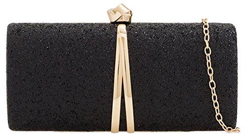 Bag Handbag Banquet Designer Clutch Evening Black Glitter Rigid Box Ladies 6wwB80q