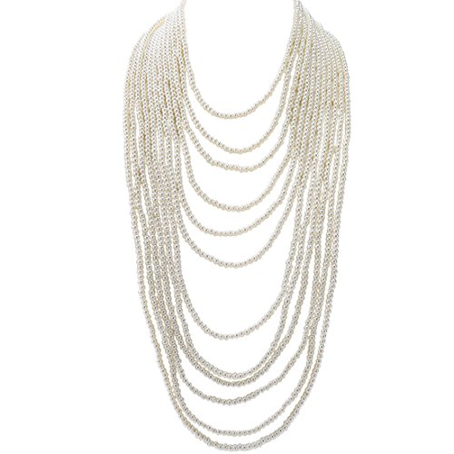 Kalse Multiple Layers 12 Strand Simulated Pearl White Beads Cluster Long Bib Party Necklace (12 Strand)