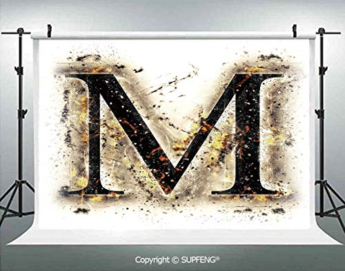 Photo Backdrop Language Writing School Themed Name Initials in Fire Background Steamy Print Decorative 3D Backdrops for Interior Decoration Photo Studio Props