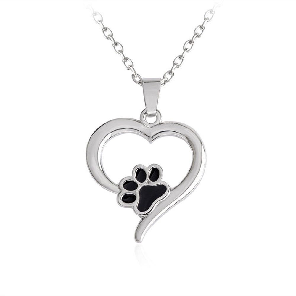 Fashion Silver Dog Paw Print Footprint Pendant Necklace for Lover Jewelry Gift