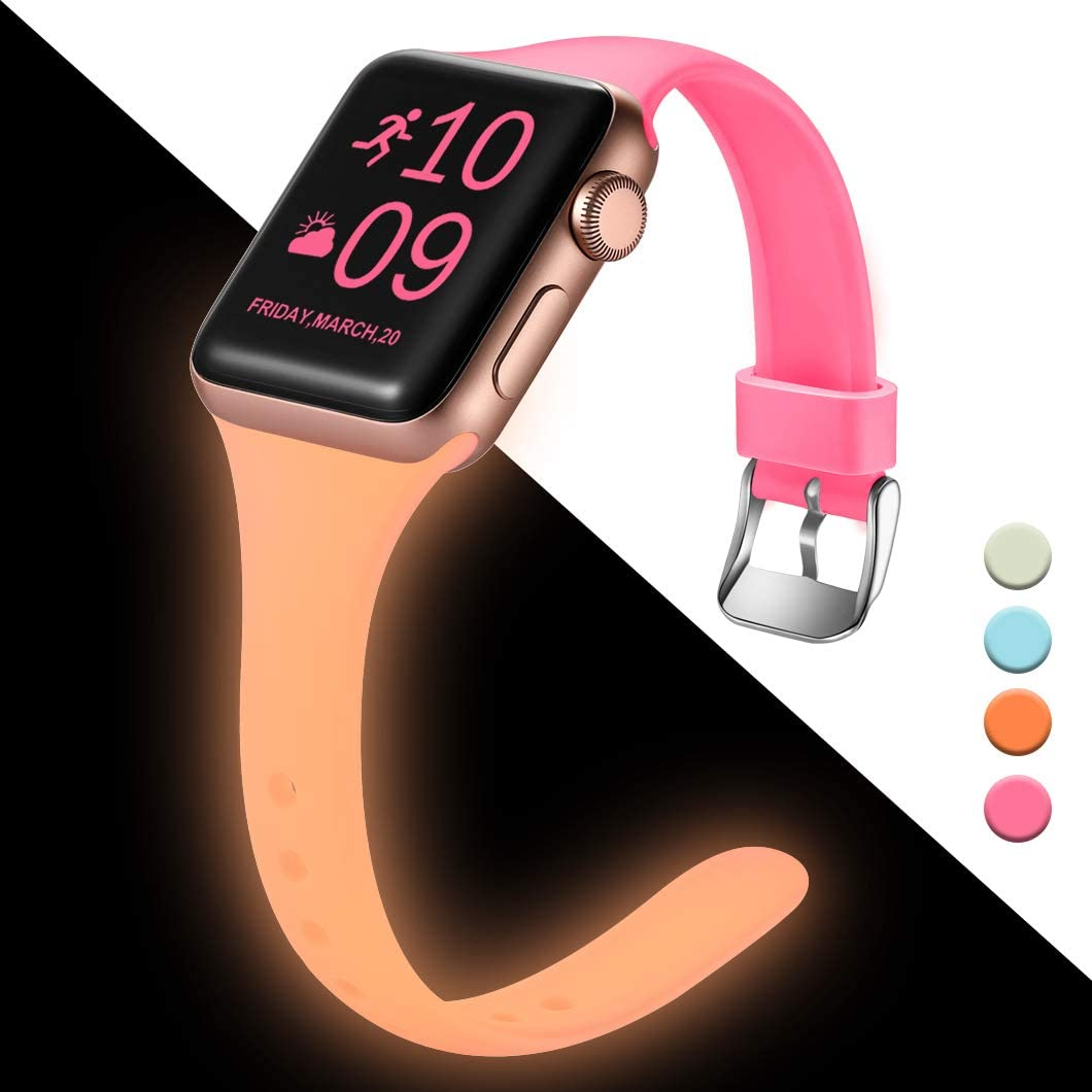 Henva Slim Band Compatible with Apple Watch SE Band 40mm 38mm, Replacement Accessories Soft Durable Silicone Thin Strap for Apple/iWatch Series 6/5/4/3/2/1, Nightglow Pink, S/M