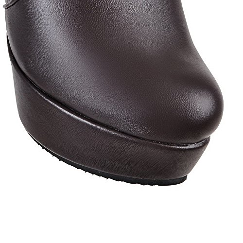 Material Women's High High Round Heels Toe top AgooLar Boots Soft Closed Brown Zipper CXZOCqw