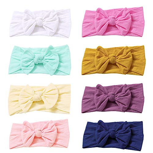 Baby Nylon Headbands Hairbands Hair Bow Elastics for Baby Girls Newborn Infant Toddlers Kids (Nylon Headbands-A)