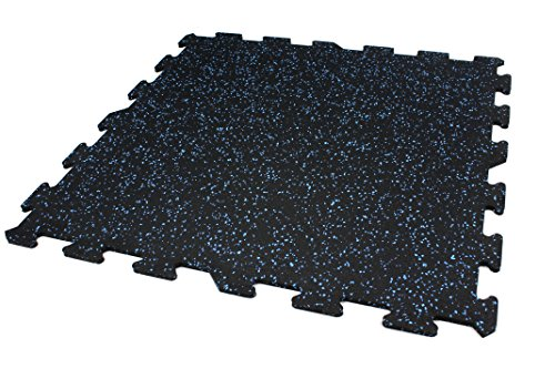IncStores 8mm Strong Rubber Tiles (Blue, 7ft 8in x 9ft 7in) Interlocking Rubber Gym Mats for Home Gym Flooring, Exercise Mats, Equipment Mats & Fitness Room Floors (Incstores Gym Tiles)