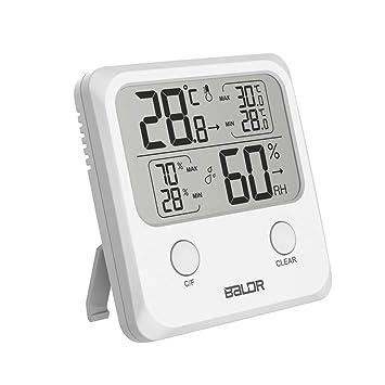 Besttse - Termómetro Digital LCD para Interiores (higrómetro, medidor de Humedad y Temperatura de Pared): Amazon.es: Jardín