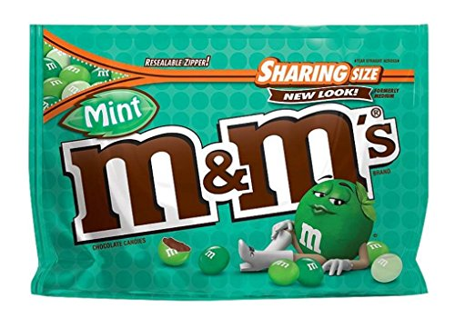 M&M New Flavor Chocolate Candy Sharing Size Pack (Mint) -