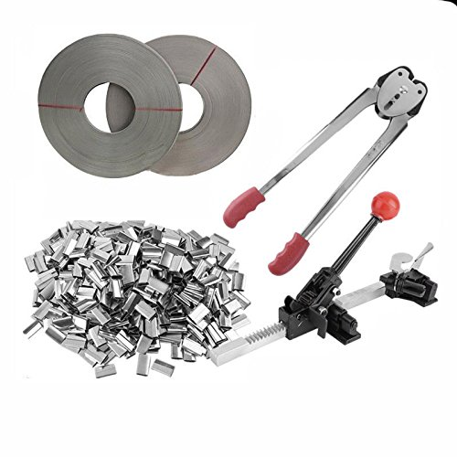 iMeshbean Complete Strapping Tool Kit with 400 PCS Metal Seals & 4 Banding Roll Supply Set 1000 FT 1/2'' Poly Strap USA