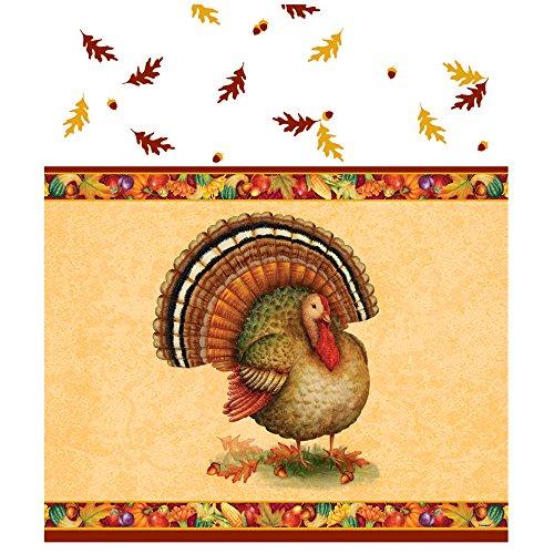 Festive Turkey Thanksgiving Plastic Tablecloth, 84 x 54