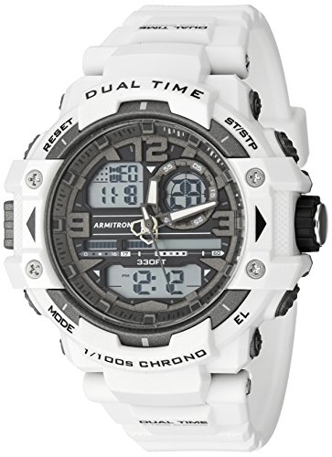 White Sports Watch (Armitron Sport Men's 20/5062WHT Analog-Digital Chronograph White Resin Strap Watch)
