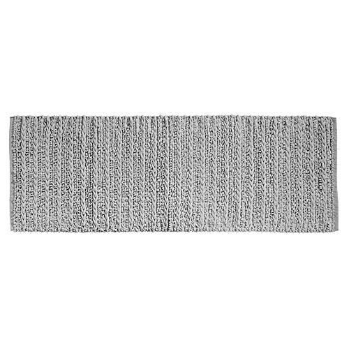 mDesign Soft 100% Cotton Luxury Hotel-Style Rectangular Spa Mat Rug, Plush Water Absorbent for Bathroom Vanity, Bathtub/Shower, Machine Washable, Braided Design, Long Runner, 60