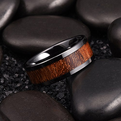 King Will Nature 8mm Black Koa Wood Ceramic Ring Wedding Band Polished Finish Comfort Fit10 by King Will (Image #1)