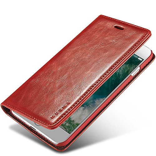 iPhone 7 Plus Case, MUXMA [Spruce Collection] Faux Leather Luxurious Grip [Red] for Apple iPhone 7 Plus (Leather Covered Magnetic Money Clip)