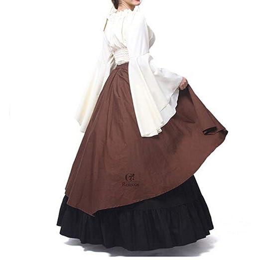 Mangas Largas Vestido Medieval de Mujer, Retro Renacentista Estilo Victoriano Vestido Largo con Cordon Vestidos Disfraz para Halloween Party Cosplay: ...