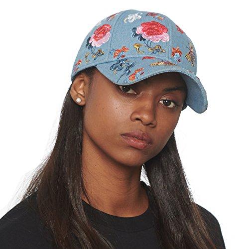 dered Rose Denim Cotton Baseball Cap with Adjustable Velcro ()