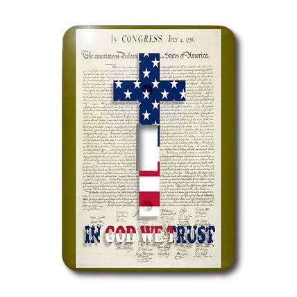 3dRose Lsp_22367_1 Declaration Of Independence Background with Christian Cross In Usa Colors Single Toggle Switch by 3dRose