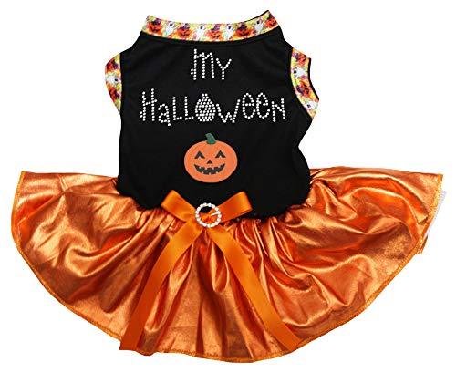 Petitebella My Halloween Pumpkin Black Shirt Bling Orange Tutu Puppy Dog Dress (Small) -