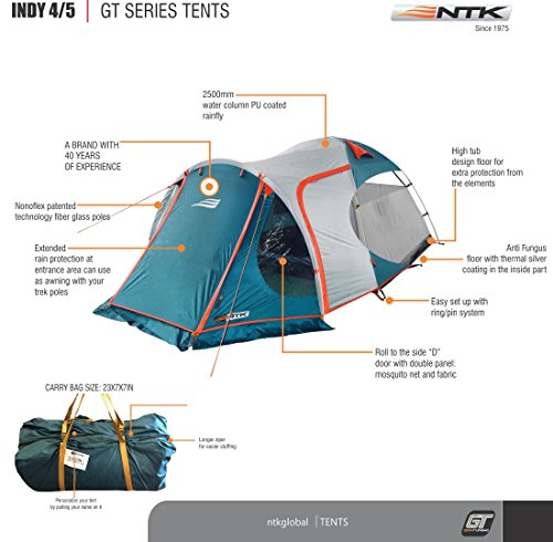 NTK INDY GT 4 to 5 Person 12.2 by 8 Foot Outdoor Dome Family Camping Tent 100% Waterproof 2500mm, European Design, Easy Assembly, Durable Fabric Full Coverage Rainfly - Micro Mosquito Mesh. by NTK (Image #2)