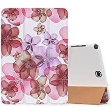 MoKo Samsung Galaxy Tab A 8.0 Case - Ultra Slim Lightweight Smart-shell Cover Case for Galaxy Tab A 8.0 Tablet SM-T350, With Auto Wake / Sleep and S-pen Opening, Floral PURPLE