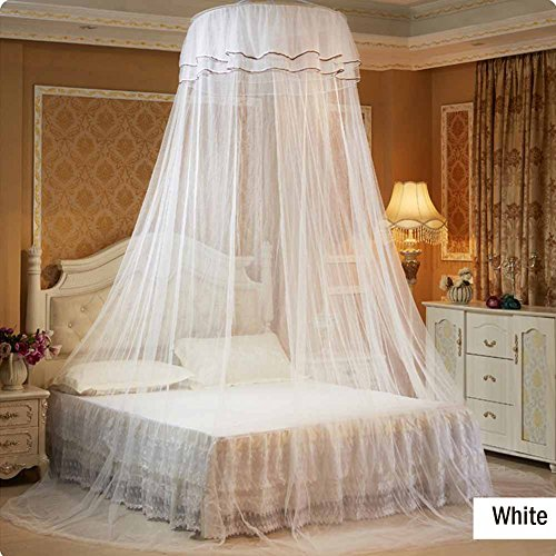Princess White Canopy for Baby Crib Bed Net Ceiling Hanging Round Mosquito Netting