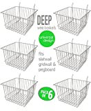 Only Hangers Deep Wire Storage Baskets for Gridwall, Slatwall and Pegboard - Chrome Finish - Dimensions: 12'' x 12'' x 8'' Deep - Economically Sold in a Set of 6 Baskets