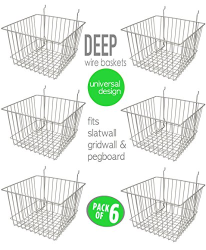 - Only Hangers Deep Wire Storage Baskets for Gridwall, Slatwall and Pegboard - Chrome Finish - Dimensions: 12