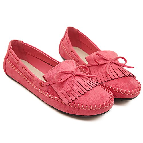 BXDE Womens Genuine Leather Flats Plus Size Women Shoes Red khPorT