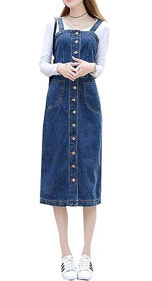 6d0d5307ba TIANKUO Yasong Women Long Suspender Skirt Denim Dungarees Jean Dress  Pinafore: Amazon.co.uk: Clothing