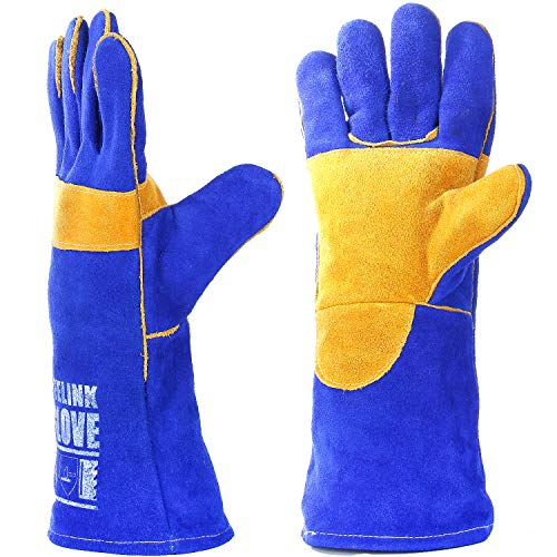 QeeLink Welding Gloves - Heat Resistant & Wear Resistant Lined Leather and Fireproof Stitching - for Tig/Mig Welders/Fireplace/BBQ/Gardening/Grilling/Stove (16-inch, Blue)
