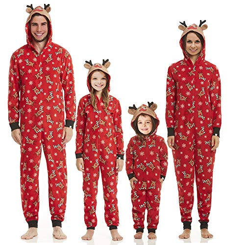 Family Matching Christmas Pajamas Set Sleepwear Jumpsuit Hoodie with Hood for Family (Men, -