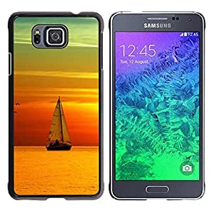 Be Good Phone Accessory // Dura Cáscara cubierta Protectora Caso Carcasa Funda de Protección para Samsung GALAXY ALPHA G850 // Teal Orange Sunset Sail Boat Sea